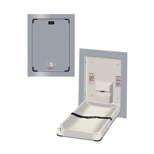 RECESS MOUNTED STAINLESS STEEL VERTICAL BABY CHANGING STATION
