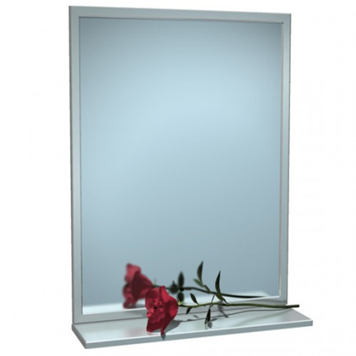 STAINLESS STEEL ANGLE FRAME MIRROR WITH SHELF