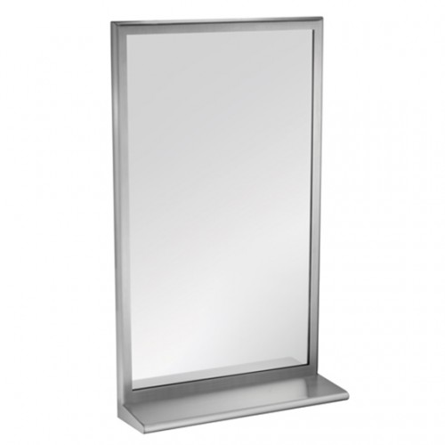 STAINLESS STEEL MIRROR WITH INTEGRAL SHELF