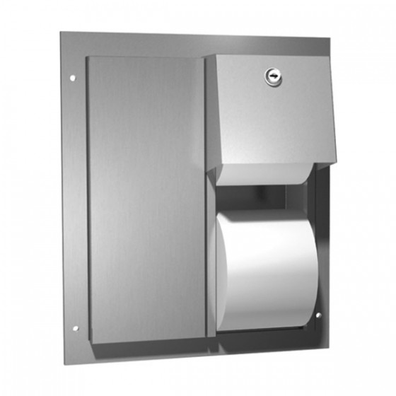 DUAL ACCESS PARTITION MOUNTED DUAL ROLL TOILET TISSUE DISPENSER STAINLESS STEEL